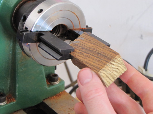 drilling pen blanks on a mini-lathe
