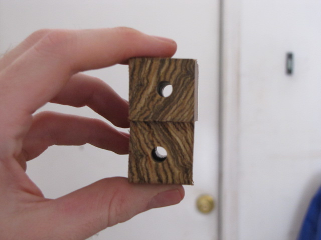 two perfectly drilled wood pen blanks, ready to receive brass tubes