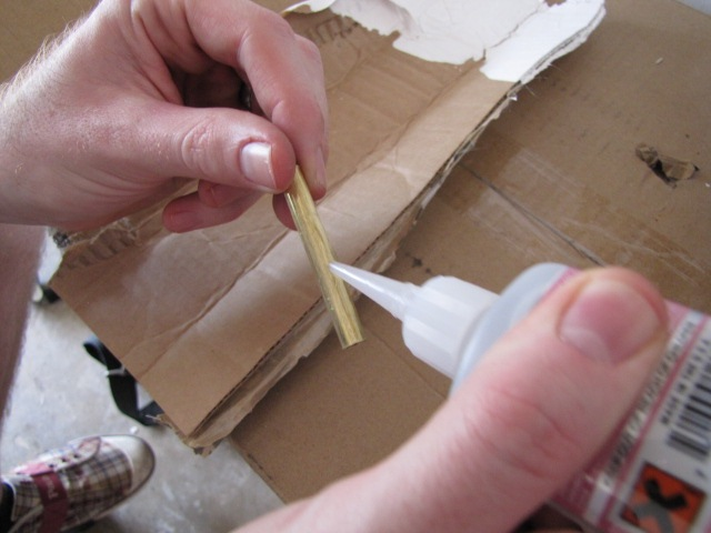 applying CA glue to brass tubing